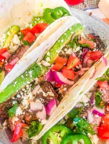 Steak Tacos with salsa and cheese