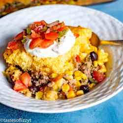 Easy Tamale Pie with sour cream