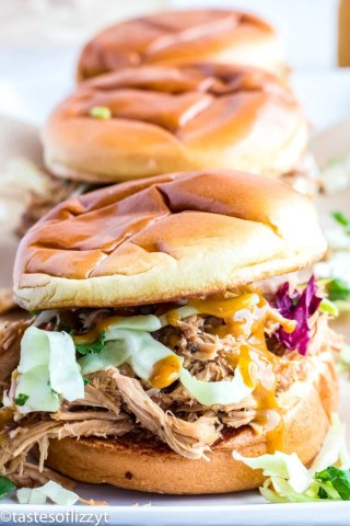slow cooker pulled pork sandwich with mustard BBQ sauce