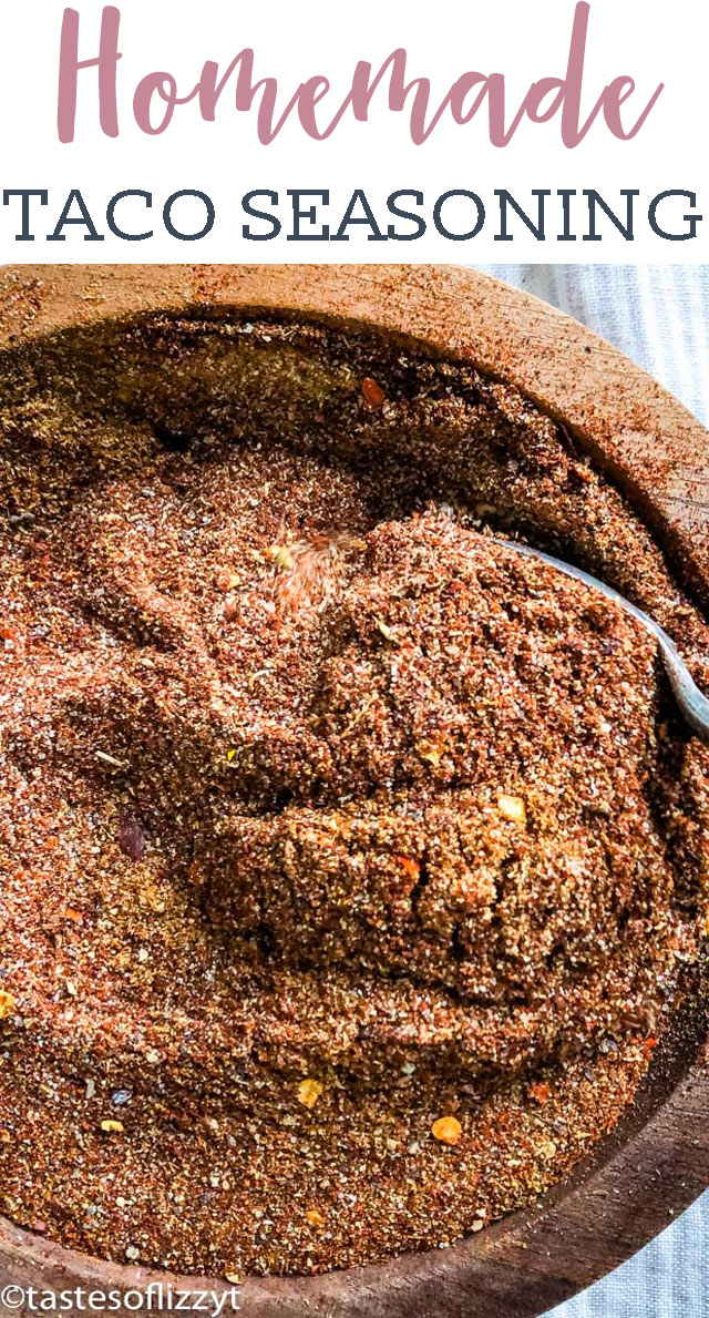 No sugar added! Make up a bulk mix of this healthy Homemade Taco Seasoning for an easy mexican dinner and great taco flavor.