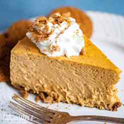 slice of Pumpkin Cheesecake on a plate