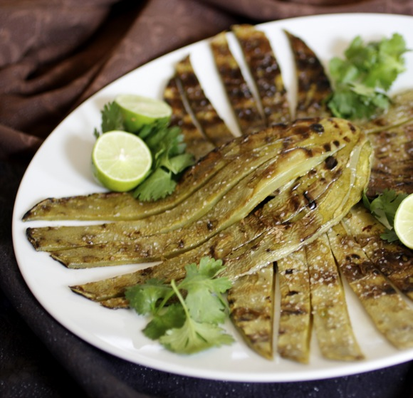 Grilled Nopalitos Caper Cumin Aioli  Taste With The Eyes