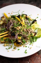 ottolenghi soba noodle with eggplant and mango