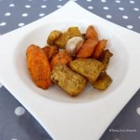 Navets boules d'or, carottes et ail en chemise rôtis au four - Recette Végétalienne