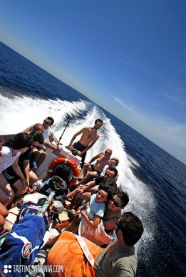 going to Mal di Ventre island with an off board motor boat