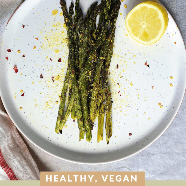vegan lemon and garlic roasted asparagus