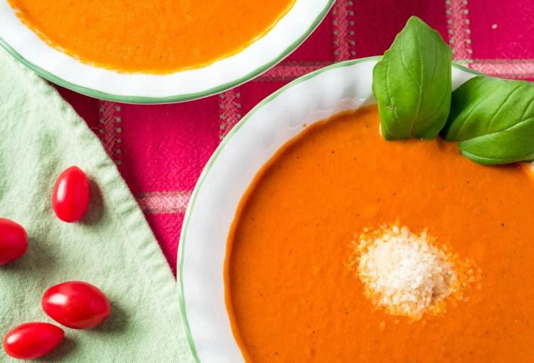 Closeup of Tomato Basil Soup