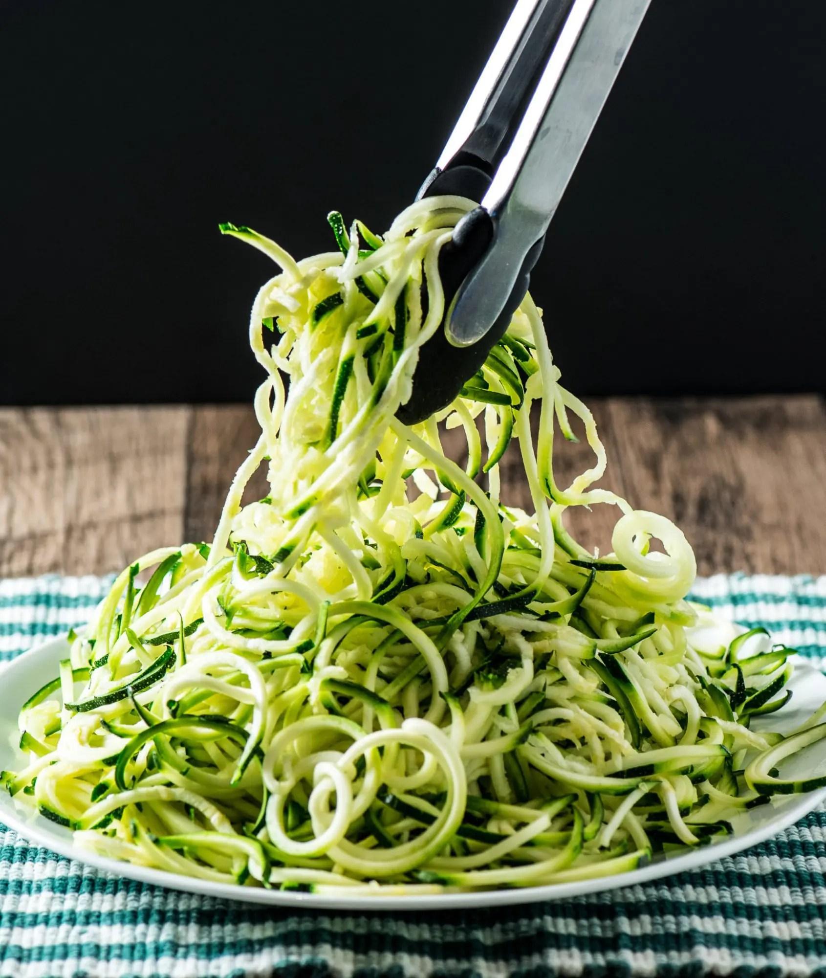Zucchini Noodle Alfredo With Garlic Shrimp Tasty Low Carb