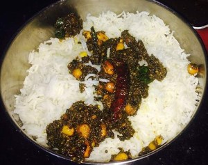 IMG_0990-300x237 Rice with Sorrel Leaves/Gongura Puliyodharai/Pullicha Keera