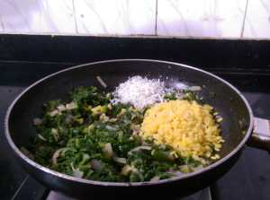 EYAZ4584-1-300x223 Stir Fried Mustard Greens with Green Gram Lentil/ Sarson Ki Sukhi Bhaji/Kadugu Keerai Pasi paruppu Poriyal/