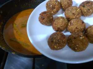 BFWG6763-300x223 Jackfruit Seed Dumpling in Gravy/ Palakottai Urulai Kulambu