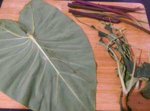 QXEL0052-300x223 Taro Leaf Stir Fry / Arbi Leaves Sukki Bhaji/ Chembilai Thoran