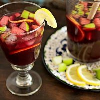 Fruity and Sweet Red Wine Sangria with Orange, Apple, and Lemon