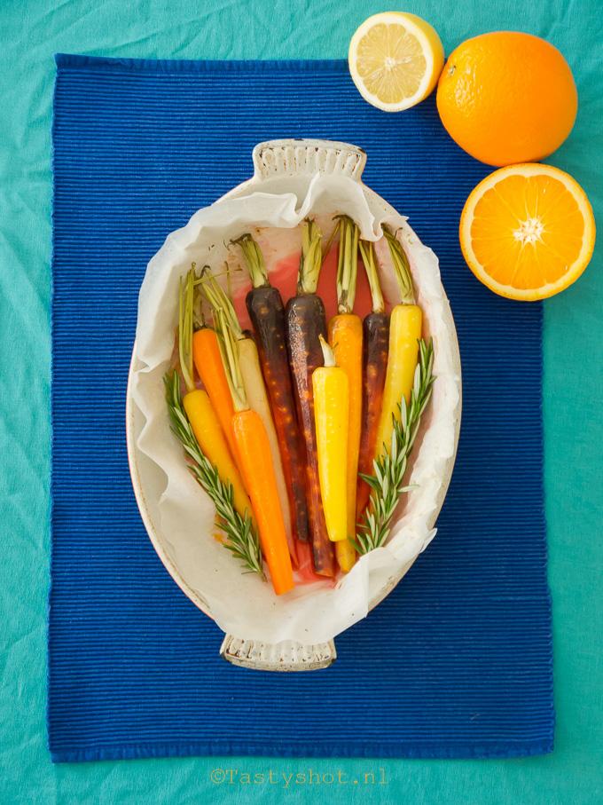 Wortel met sinaasappel uit de oven
