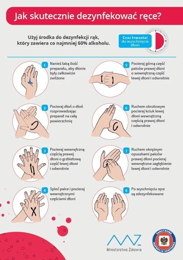 Jak uchronić się przed atakiem koronawirusa? Instrukcja GIS jak skutecznie dezynfekować ręce.