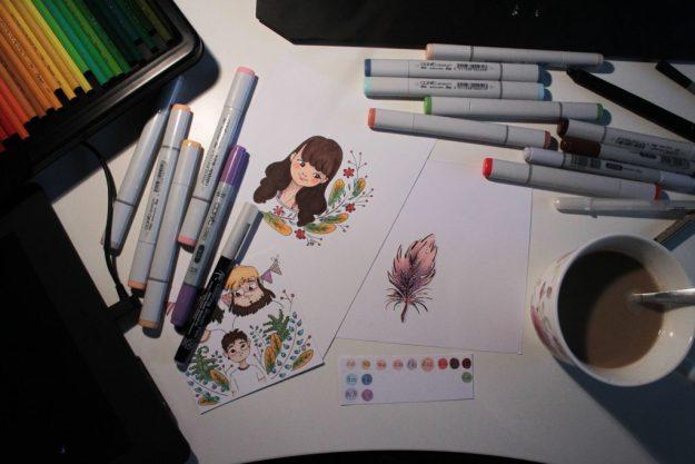 Markery Copic + czarny cienkopis Mocron 01 (Sakura, AP)