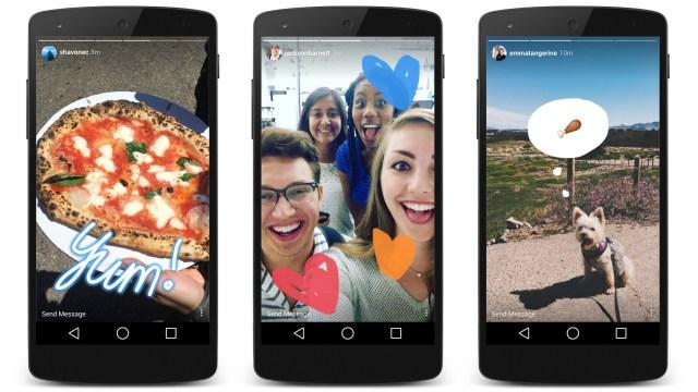 Three smartphones show Instagram Stories