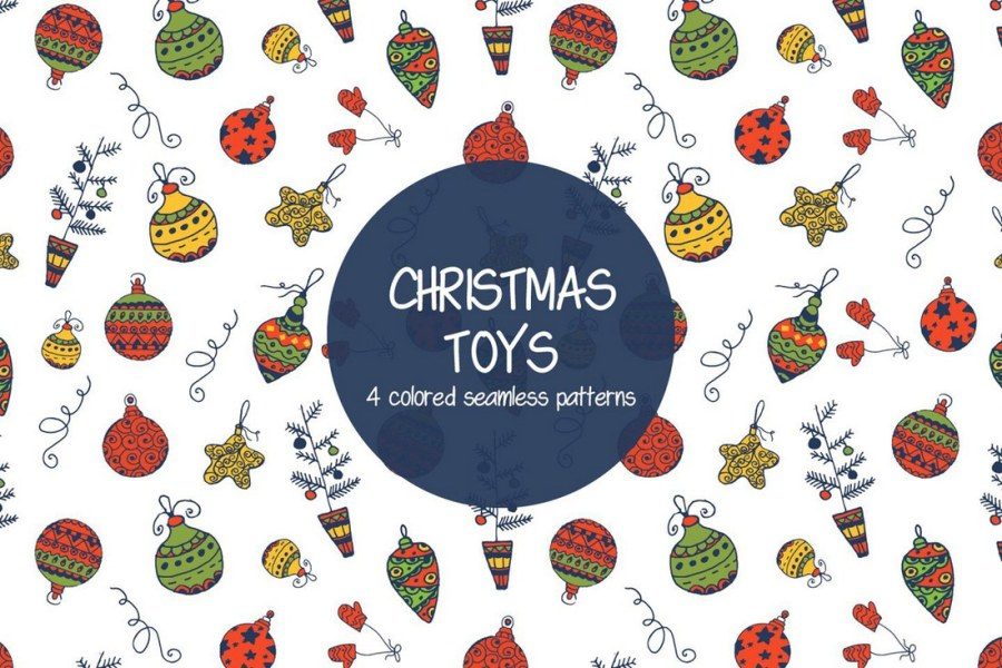 Christmas Toys Illustration Vector Free Pattern