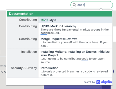 An example of Algolia DocSearch in action
