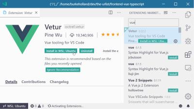 The Vetur VS Code extension landing page in VS Code
