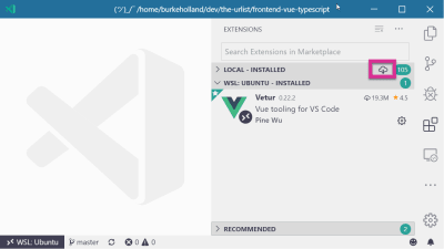 The Extensions view in VS Code with the install all extensions in WSL icon highlighted