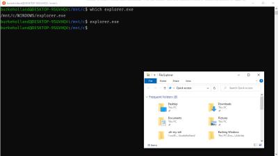 The Windows Explorer and the the Ubuntu terminal