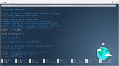 The zshrc file with the zsh-vnm-plugin added