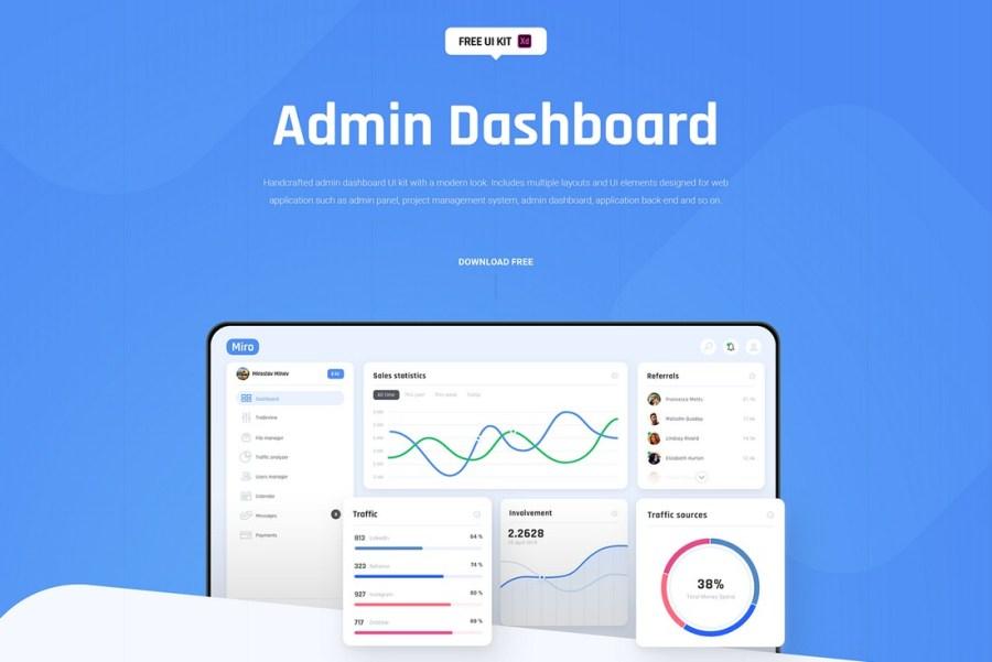 Miro - FREE Dashboard UI Kit for XD