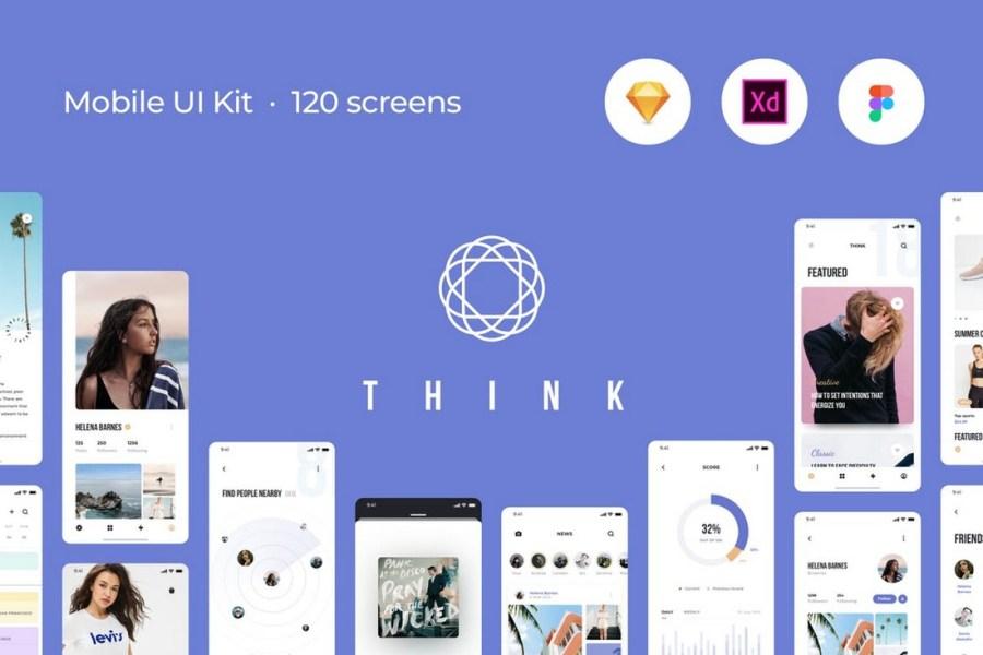 Think Mobile UI Kit - 120 Screen Templates