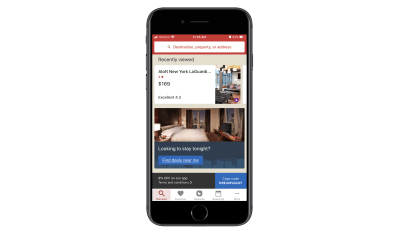 Hotels.com Discovery page in app