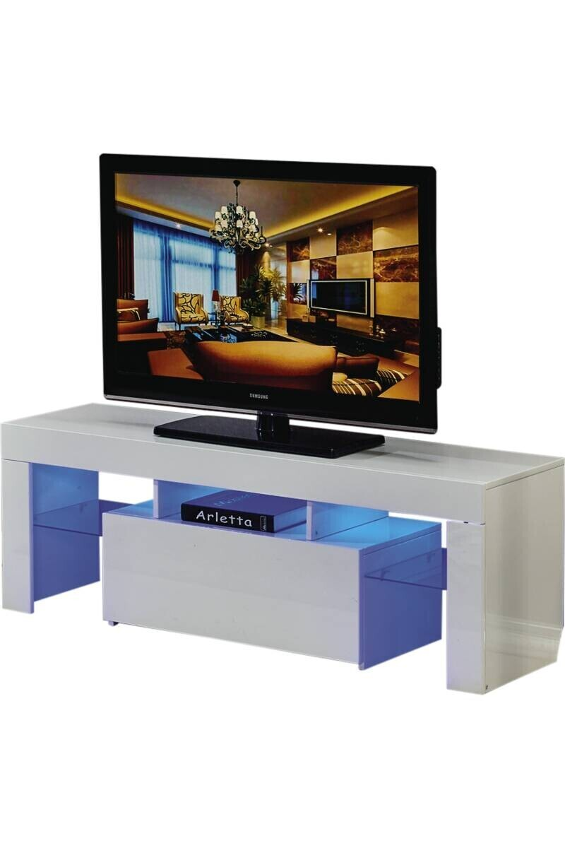 meuble tv led borda 1 tiroir blanc laque dimensions 130 x 34 x 45 cm mdf meuble tv led borda 130 x 34 x 45 cm blanc laque tati