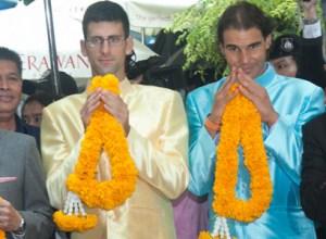 International tennis stars Rafael Nadal and Novak Djokovic pay respect at the Erawan Shrine