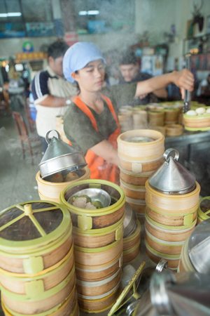You know it's breakfast time in Trang when the dim sum steamers from the local shops start turning out their tasty morsels.