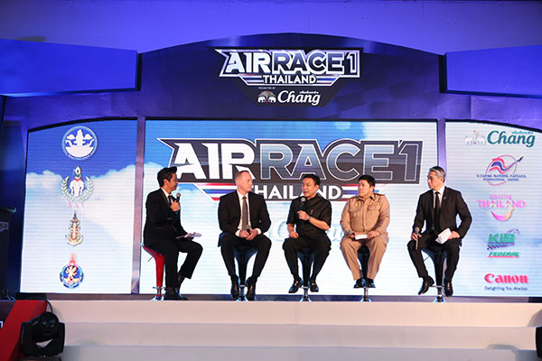 From right: Mr. Vichate Tantiwanich, Thai Beverage PCL Senior Vice President; Admiral Paladej Charoenpool, Royal Thai Navy's Deputy Commander-in-Chief; Mr. Pongpanu Svetarundra, MOTS Permanent Secretary; and Mr. Jeff Zaltman, Air Race 1 CEO provided information of the Air Race 1 Thailand Presented by Chang during the press conference.
