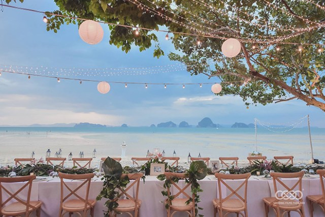 Lavish beach wedding party