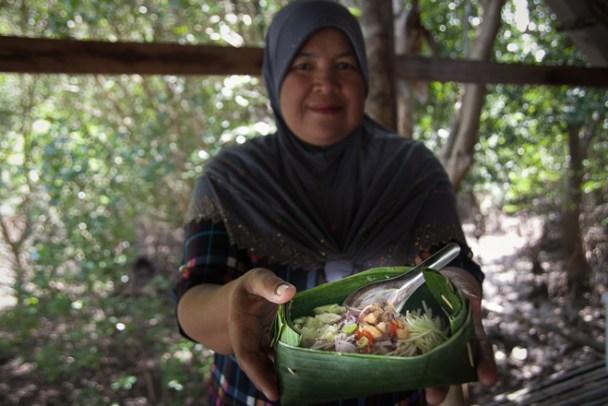 Khao Kluk Kapi local rice dish at Laem Sak, Krabi