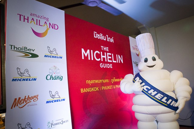 The Michelin Tyre Man at the press conference to announce Michelin Guide Bangkok, Phuket and Phang Nga 2019