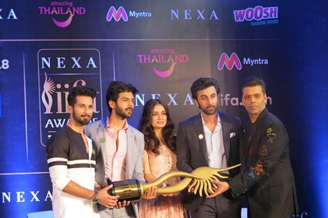 From left: Shahid Kapoor, Kartik Aaryan, Dia Mirza, Ranbir Kapoor and Karan Johar