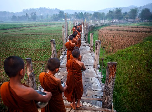 Su Tong Pe Bridge in Suan Tham Phu Sama, Mae Hong Son