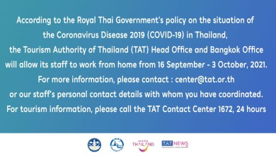 TAT announces an extension of working from home for Head Office and Bangkok Office