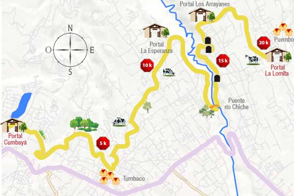 Mapa de la ruta Chaquiñan
