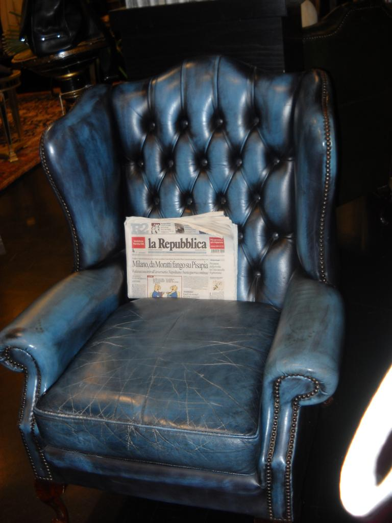 Divani e poltrone  Poltrona da lettura in pelle blu