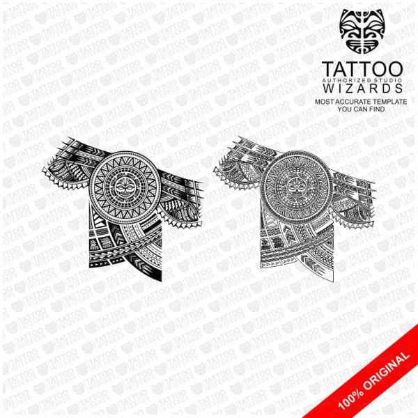 Samoan Warrior Sun 2 Vector Tattoo Template Stencil