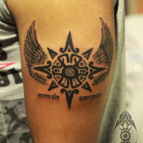 awesome tattoo wings sun
