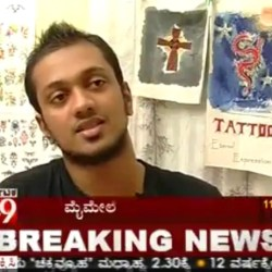 Lead Tattoo Artist Veer Hegde of Eternal Expression Tattoo Studio being featured in an article on 3d tattoos in Bangalore