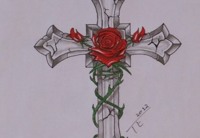 Rose And Cross Tattoo Designs