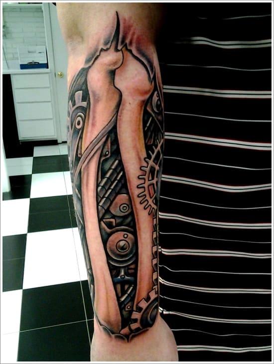 Bone And Mechanical Arm Tattoo Designs Tattoo Bytes