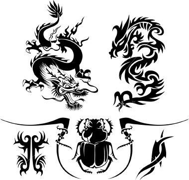 Some of the more popular stencils are the Tribal dragon tattoos.