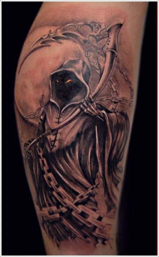 horrifying grim reaper tattoo