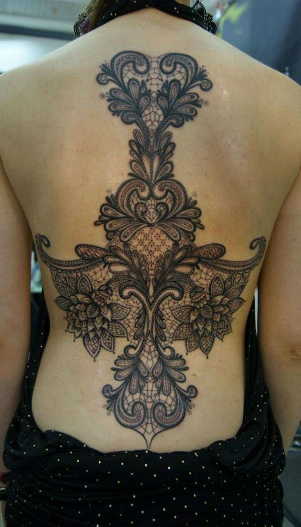 delicate lace tattoo design